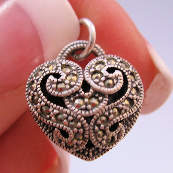 Puffy Heart Marcasite Sterling Charm Pendant Vintage