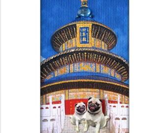 pug, dog, pet portrait, asian, blue, blue home decor, animal art, dog art, dog portrait, dog lover, tagt team