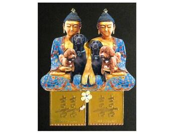 custom pet portrait,dog portrait,pet art,pet collage,buddha,asian,zen,blue black,home decor,tagt team