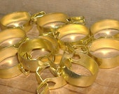 14 Vintage Cafe Curtain Clips Rings. No sewing, just clip on and hang your fabric. Gold Tone and Brass Drapery rings.
