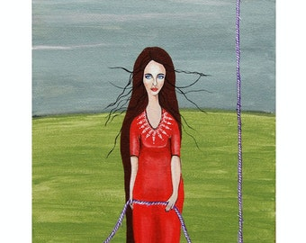 "Small Acrylic painting- Woman With Rope- Original Acrylic Painting ""Stronger...""- Red Dress Art"