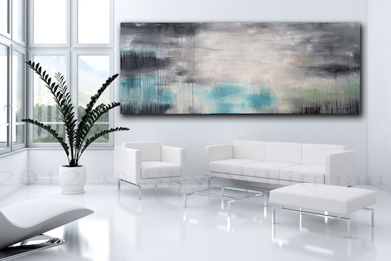 RESERVED FOR JEN Massive Original Abstract Art Smokey Gray and Blue Modern Contemporary Painting by Whitman 30 x 72