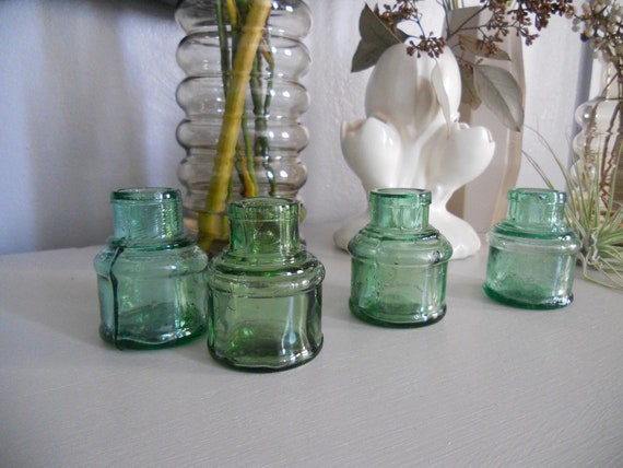 1 SET of  4 Green blue glass ink wells