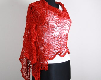 Knitting Shawl, Red ,Stole ,Perfect for Spring , Winter,