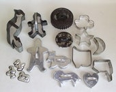 21 Piece Old Metal Cookie Cutters Instant Collection - Cute Candy Molds Lot