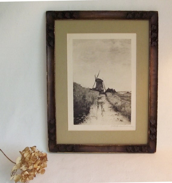 Antique 1916 Dutch Windmill Etching Signed Picture in Hand Carved Frame
