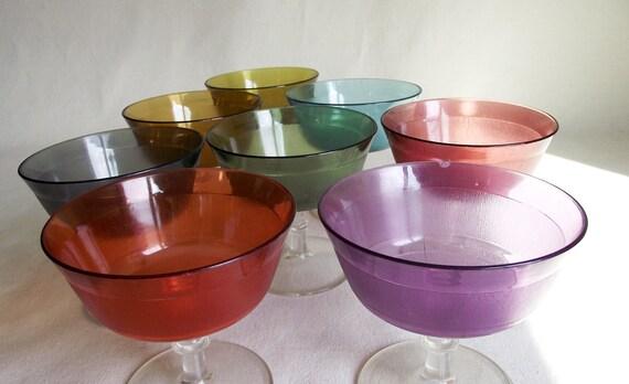 8 Vintage Plastic Stemware Dessert Sherbet Cups