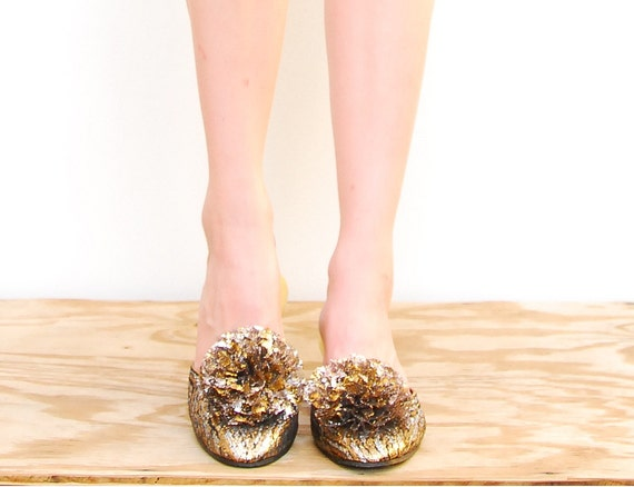 60s Lace Shoes - Daniel Green - Pom Pom Slippers - Vintage Metallic Slip On Shoes - 1960s Pin Up Loafers - Size 6 1/2 7 - 37