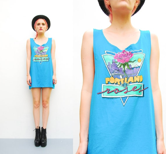 80s Portland Tank Top - Teal Oversized Slouch Tank - 1980s Tshirt Top - PORTLAND City of ROSES - Soft Tee - S M L OSFM