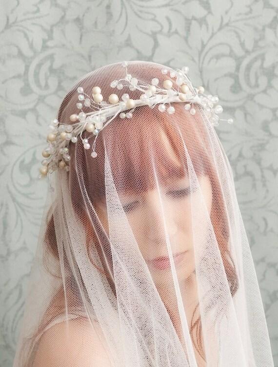 Bridal tiara, crystal hairpiece, pearl crown, wedding hair accessories - little moon
