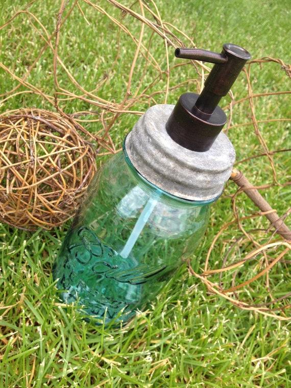 1 QT sized 32 oz 1930's Blue Mason Soap Dispenser with Zinc lid