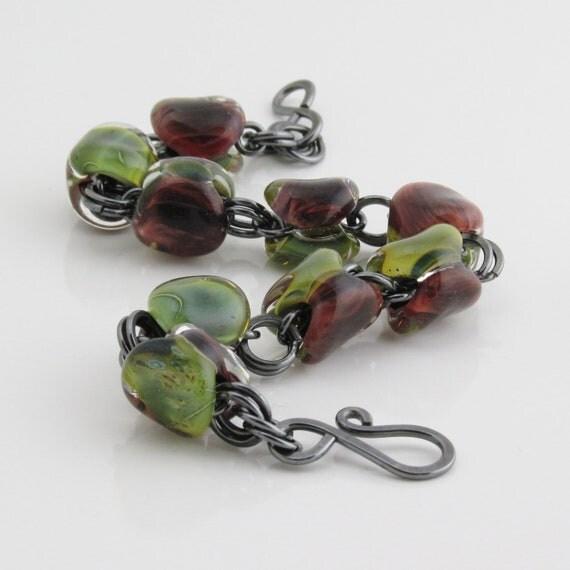 Lampwork Bracelet, Burgundy Green Swirl, Oxidized Sterling Silver