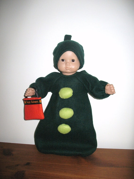 Doll Clothes 15 Inch Bitty Baby or Bitty Twin Girl or Boy Doll, Peas In a Pod Baby Bunting Halloween Costume