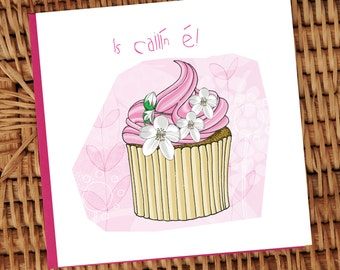 Its a Girl pink cupcake with flowers Irish language illustrated card