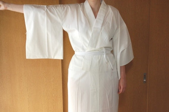 Nagajuban Underkimono In White, From Japan, Size M L, Dressing Gown, Robe, Lingerie, Traditional