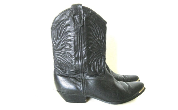 Black Cowboy Boots, Black Leather Boots, Steel Toe Ankle Boots, Short Calf Embroidered Boots, Womens 6 or 6.5