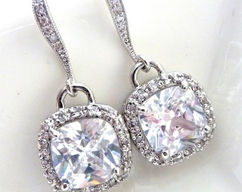 Bridal Earrings - AAA Clear White Square Cubic Zirconia (Not Foiled Back) with White Gold Plated CZ Earings