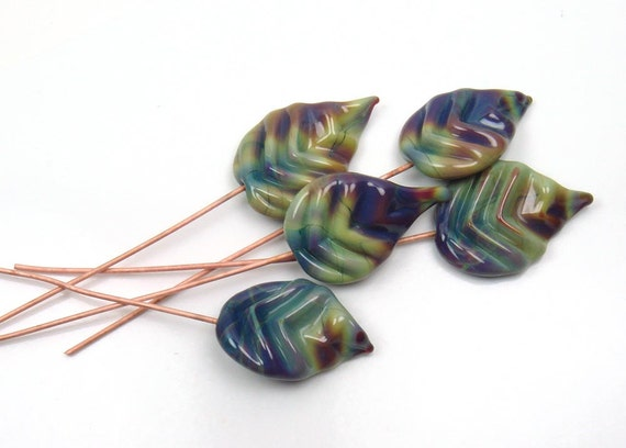 Handmade lampwork glass head pins  -  Variegated leaves  -  5 leaf headpins, blue, green, autumn leaves, fall leaves