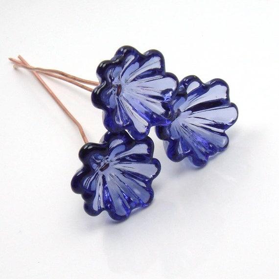Handmade lampwork glass Bell Flowers  - Transparent Purple  -  violet, ink blue, floral headpins