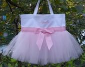 Dance bags, ballet bag, personalized tote bag, Embroidered Dance Tutu Bag, MINI White Bag with light Pink Tulle Tutu Tote Bag MTB014 BP