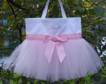 Dance bags, ballet bag, personalized tote bag, Embroidered Dance Tutu Bag, MINI White Bag, Naptime 21, Tutu Tote Bag MTB014 BP