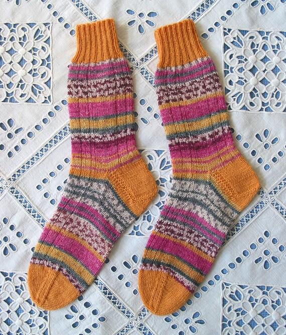 Hand Knit Socks Opal Harry Potter Yarn - Womens Medium .- Colorful Superwash Wool - Soft and Warm