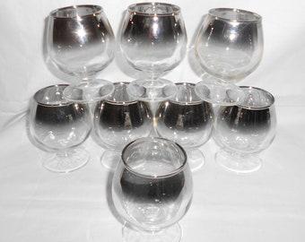 8 Vintage Glasses  Silver Rimmed Roly Poly Shot Glasses on Pedestal