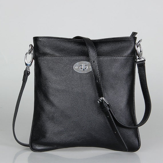 Cross body leather bag in black--Adeleshop handmade clip on hobo shoulder cross body bag