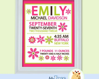 Trendy Flower Girly Birth Announcement Personalized Baby Gift