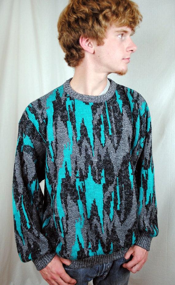 Vintage 80s 90s Neon Santana Geometric Cosby Sweater
