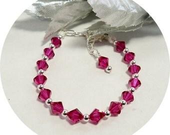 Fuchsia Bracelet, Crystal Bracelet Hot Pink, Flower Girl Jewelry, Pageant Jewelry, Toddler Jewelry, Kids Jewelry, Girls Bracelet, Dress Up