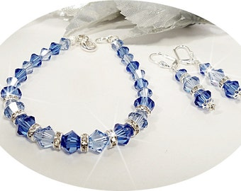 Blue Bracelet and Earrings, Bridesmaid Jewelry, Crystal Jewelry, Austran Crystal, Bridal Party, Wedding,  Sapphire Blue, Mother of Groom