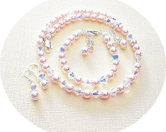Girls Pink Jewelry Set, Necklace, Bracelet Earrings, Flower Girl, Dressy