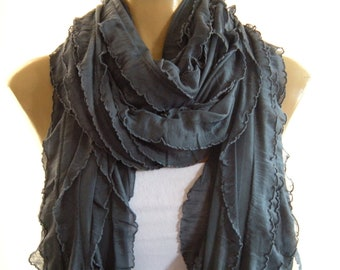 Smog,Charcoal  Dark gray long ruffle scarf Tube scarf Super long Flamenco superstar