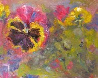 original oil painting, impressionism flower art, canvas impasto pansy painting, wall decor, Janice Trane Jones 11 x 14 fine art