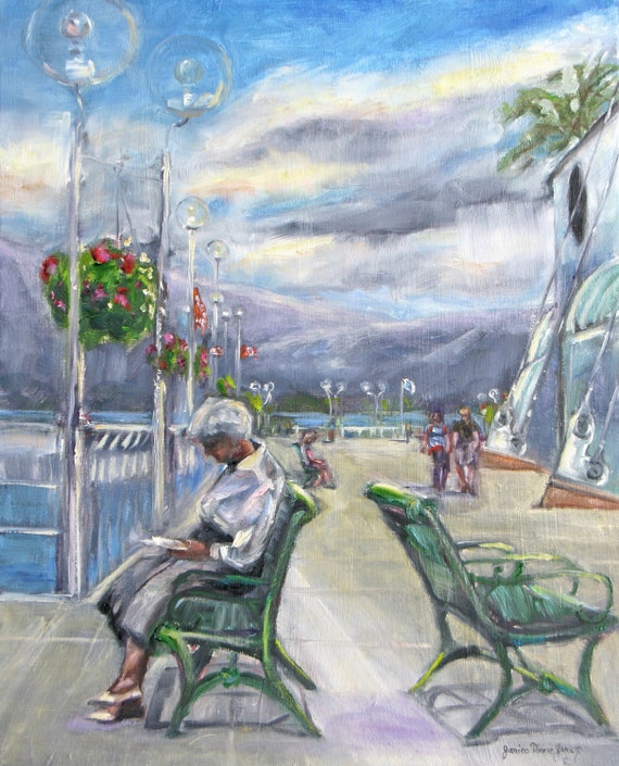 old woman original oil portrait painting ferry dock landscape reading impressionism stretched canvas vancouver canada 16 x 20