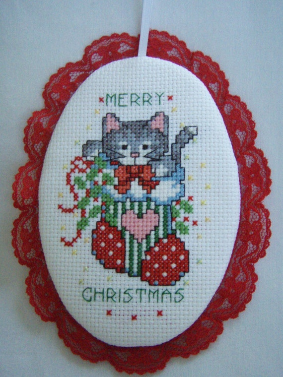 Cross Stitched  MERRY CHRISTMAS KITTY in red sock ornament