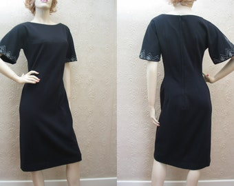 Rsvd Abella Paris vintage 50's black wiggle dress with glass beading & rhinestone embellishment