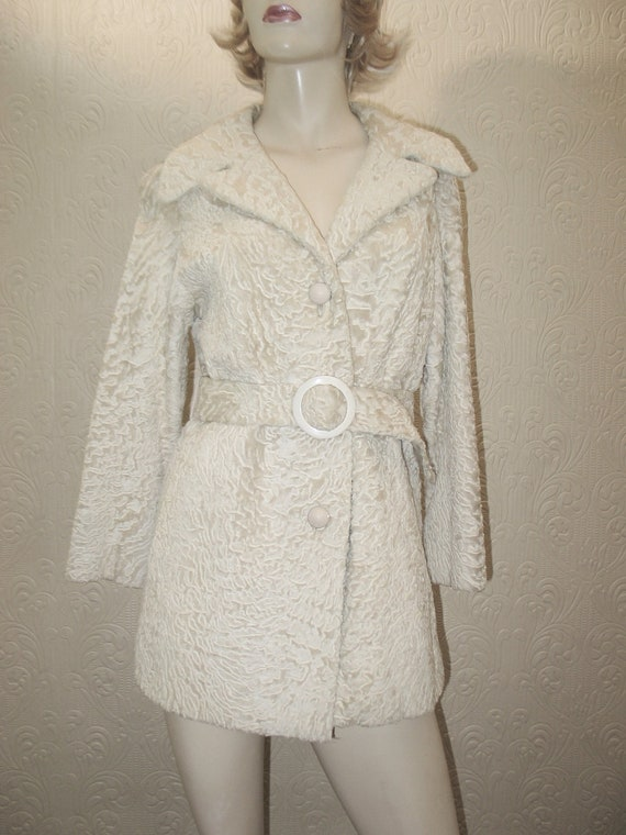 Vintage 60's rare creamy white genuine broadtail lamb fur mod jacket from Neiman Marcus