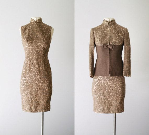 60s dress  / 1960s jacket and dress /  Fallow Brocade dress