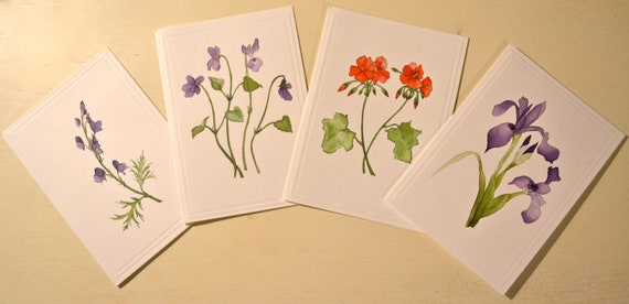 Floral Note Cards from Original Watercolor Paintings- Set of 4