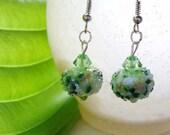 Green Lampwork Earrings Sugar Lampwork Swarovski - OVER HALF OFF!!