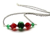 Red and Green Crystal Lampwork Necklace Mistletoe Evergreen Crimson - HALF OFF!