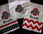 Ohio State burp cloth set of 2 with bib personalized