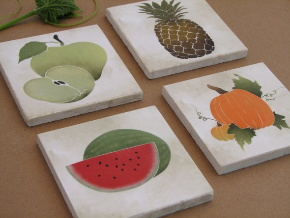 Fruit and vegetable wall art kitchen wall by - Kitchen curtains with fruit design ...