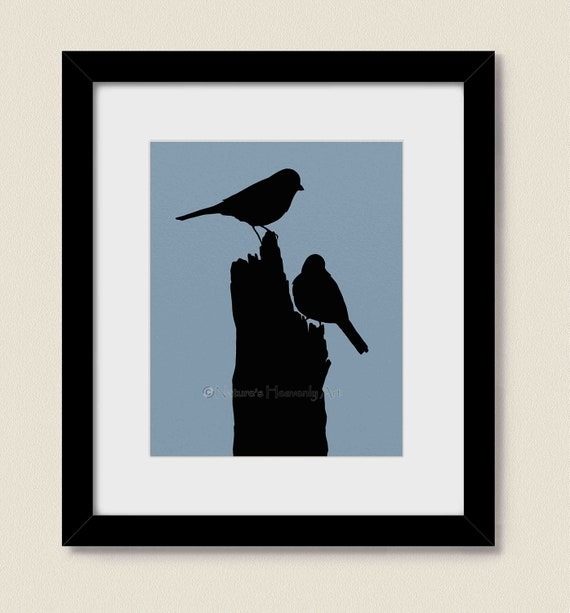 Birds in Nature Wall Art for Home or Office Decor, Blue Bedroom Art Print