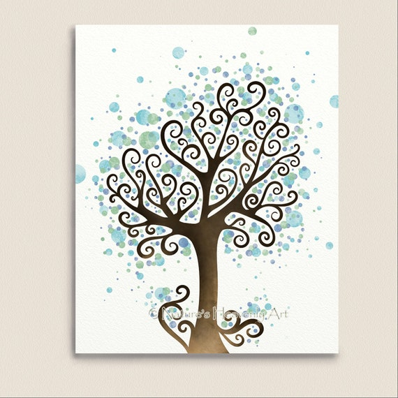 Wall Art Trees Green : Items similar to watercolor tree art green and blue wall