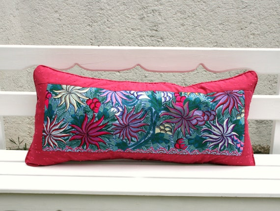 San Cristobal Collection Embroidered Upcycled Chiapas Chal Sham Set  Pillow Ready To Ship