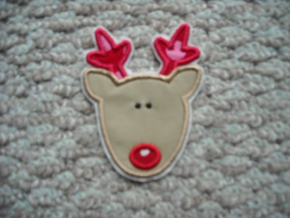 SMALL Girly Reindeer Machine embroidery  Iron on aplique       Free SHipping U.S.A.