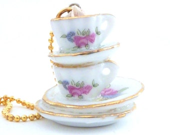 Drink Me Necklace Alice In Wonderland Stacked TEA CUP teacups necklace graet necklace for tea party  unique gifts for the holidays